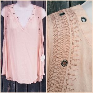 Pale Peach Sleeveless Embroidered Top w/Gromets